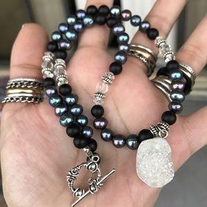 Genuine druzy quartz , pearls & onyx necklace